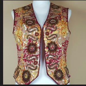 Class Red Gold Bead silk sequin Boho vest